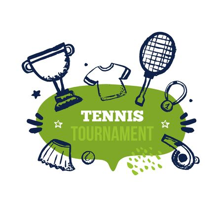 Tennis banner on speech bubble with grunge racket, t-shirt, championship cup