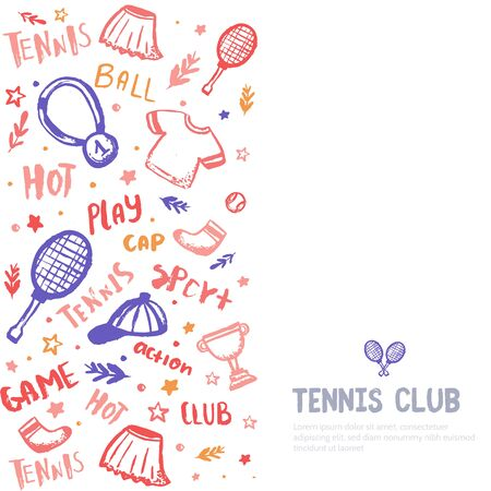 Tennis banner on white background with grunge racket, t-shirt, championship cup and hand drawn lettering