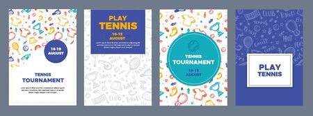 Tennis Poster Set in grunge style on pattern, modern flyer, Tournament template, game layout. Match invitation