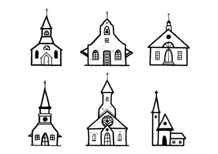 Sketch Church doodle buildings set . Hand drawn illustration, christian sign, catholic religion object