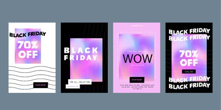 Modern Black Friday flyer, promo banner in brutalism style with gradient, word background. Price tag badge, simple concept
