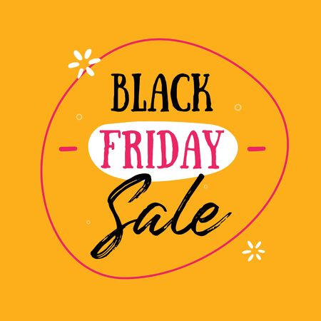 Black Friday Sale vector Banner. Promo poster template, Special price offer, november discount on yellow background