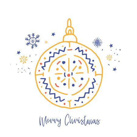 Xmas vector greeting card, Happy Christmas ball decoration in doodle style banner, card greeting Ilustrace