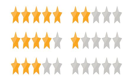 Yellow 5 star rating isolated on white background. Feedback concept for Customer service. template.