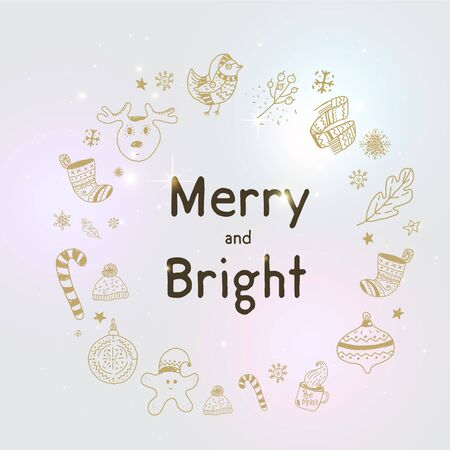 Xmas  greeting card, Happy Christmas doodle decoration in modern style banner, card greeting
