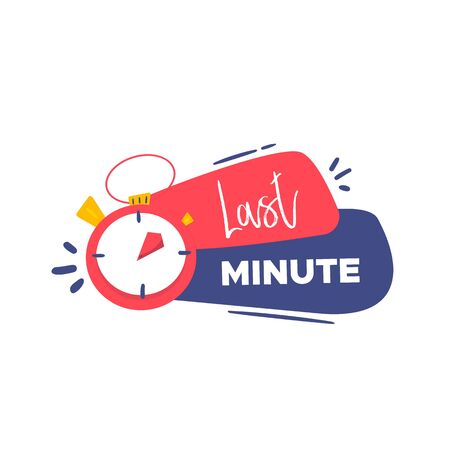 Modern Last minute deal label, promo banner with stopwatch, alarm clock.