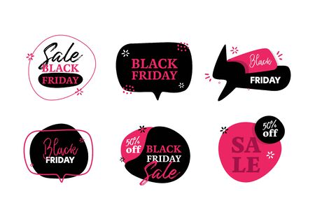 Modern Black Friday flat badge deal label, promo banner with circle, star background. Price tag badge, speech bubble.