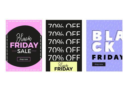 Modern Black Friday flyer, promo banner in brutalism style, word background. Price tag badge, simple concept. Ilustrace