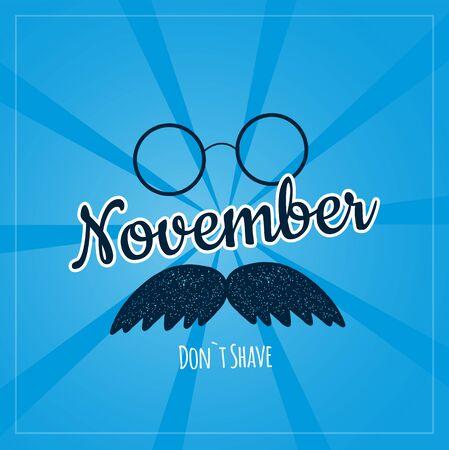 Mustache November poster on blue