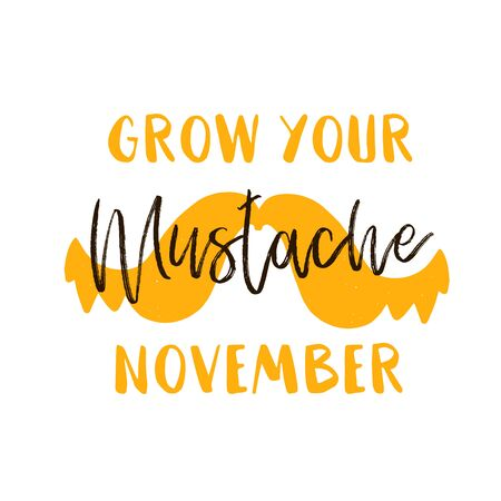 Simple Mustache November poster, cancer awareness vector background. Health Flyer. Ilustrace