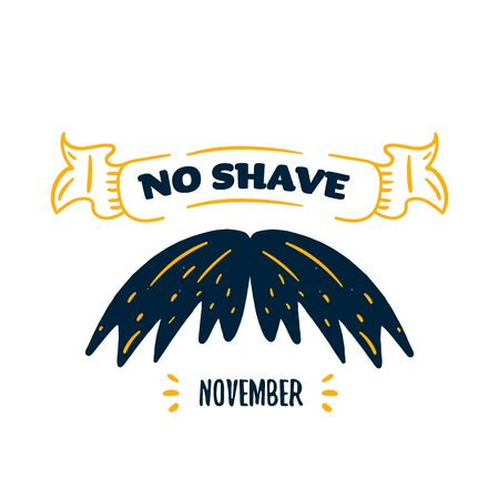 Mustache November poster on yellow background with swirls, cancer awareness vector background. Health Flyer. Ilustrace