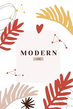 Modern Abstract collage card. Art background poster. Creative graphic illustration with trendy tropic shapes