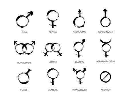 Grunge Gender icon set with different sexual symbols Иллюстрация