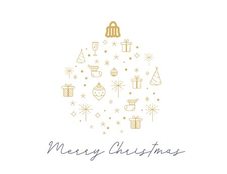 Merry Christmas greeting card in shape of ball with line art icons.