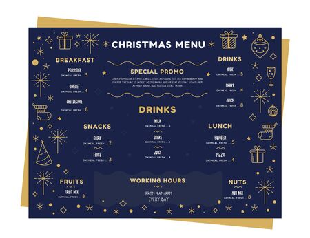 Xmas vector menu template. Holiday Party design.