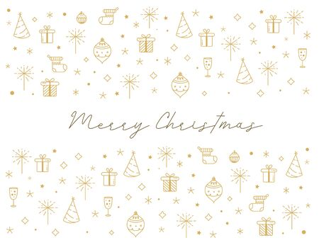 Merry Christmas greeting card with line art icons. Winter xmas postcard in golden color.