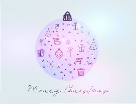 Merry Christmas greeting card in shape of ball with line art icons on gradient