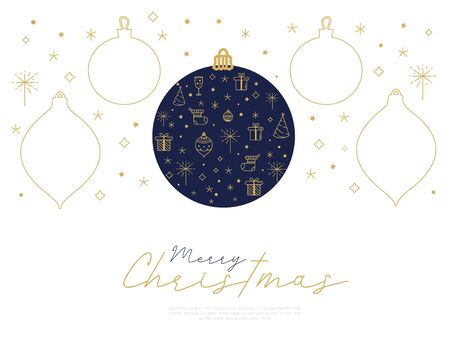 Merry Christmas greeting card with shapes of ball with line art icons.