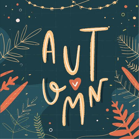 Autumn fall vector lettering postcard.