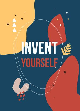Invent yourself. typography poster design Stockfoto - 136383604