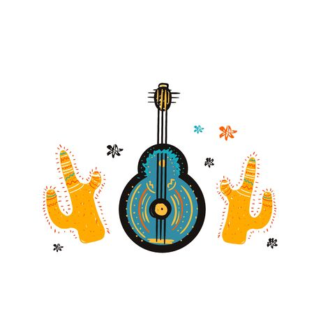Doodle mexican guitar with cactuses. Skecth instrument design, abstract decoration Stock Illustratie