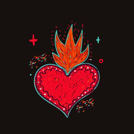 Mexican heart tattoo on dark background, sacred hipster vector design, abstract sign