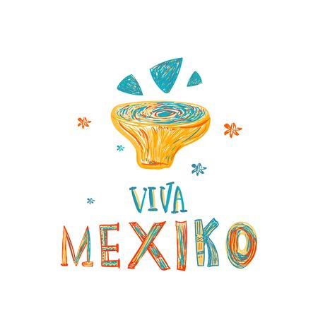 Viva Mexiko food banner with nachos and guacamole souce. Decoration poster isolated on white background. Fiesta Party vector design