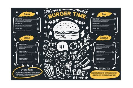 Grill BBq menu template on chalkboard. Cafe poster background, food icon, brochure template.