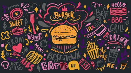 Colorful Restaurant Wall typography. Vector Food BBQ background, motivational cafe menu with lettering on chalkboard. Ilustração