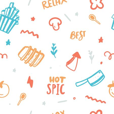 Colorful BBQ Menu Seamless Pattern design, Food barbecue vector Stock Illustratie