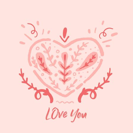 Pink Love you quote Lettering poster. Stock Illustratie