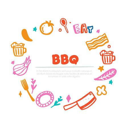 Colorful BBQ menu banner template, typography
