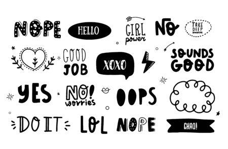 Adesivo social per social media, badge con lettere, icona emoticon, testo alla moda con frasi motivazionali No, Yes, Do It, Sounds Good. Vettoriali
