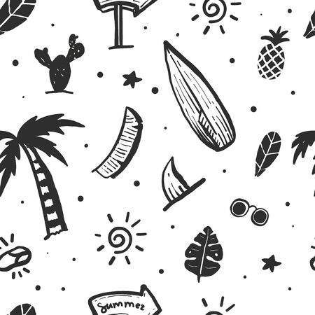 Summer ocean doodle seamless pattern with palm, waves, surf board Stock Illustratie