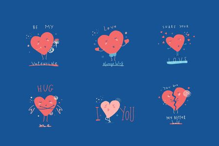 Minimalistic love character heart poster collection. Cute cartoon Valentine day flyer 免版税图像 - 140291158
