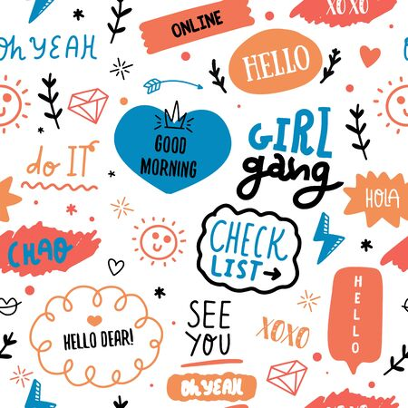 Glamour fashion seamless pattern with quotes, girl gang, hearts. Girlish print for clothes, textiles, wrapping paper, web. Isolated elements on white background