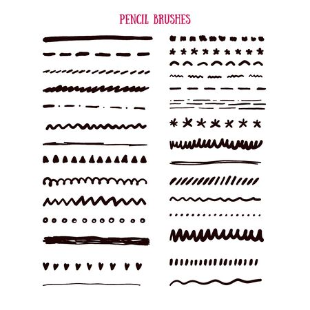 Vector pencil grunge brush set, black texture background, abstract paint.
