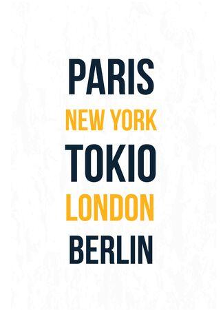 City names on white Ilustrace