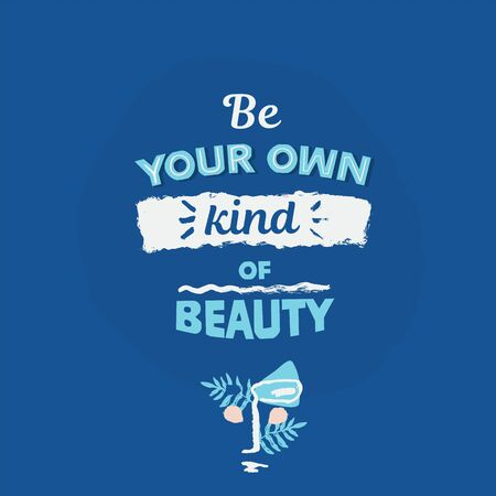 BE Your own kind of Beauty abstract face poster in pastel colors with typography