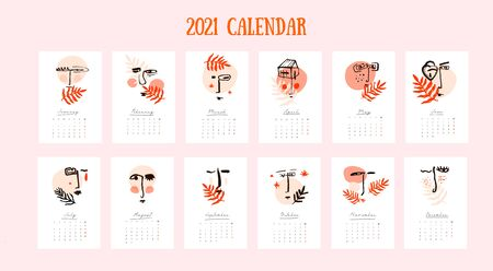 2021 Wall calendar with abstract face in pastel colors.