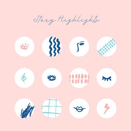 Modern grunge highlight icon set Ilustrace