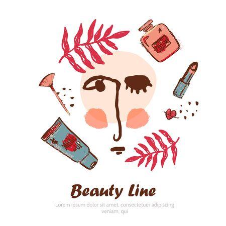 Banner cosmetico moderno con volantino grunge viso astratto, trucco di bellezza, rossetto, fondotinta, modello di schizzo. Vettoriali