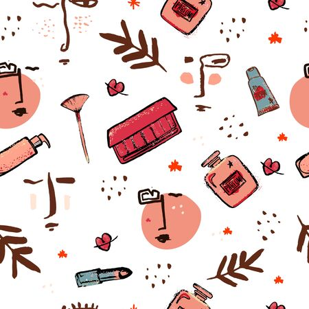 Beauty seamless pattern, cosmetics flyer, female glamour fashion, mascara blush with grunge face. Stock Illustratie