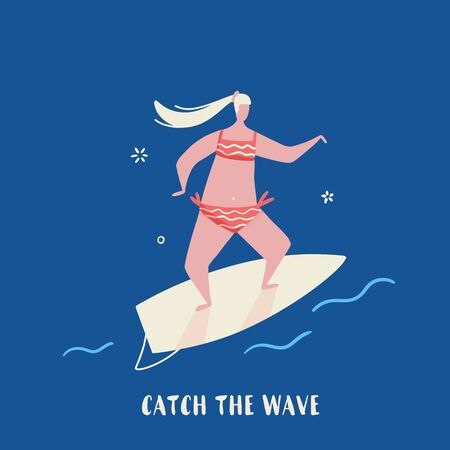 Surf Quote poster, vector Hawaiian poster, tropical postcard in cartoon style with girl in bikini Ilustrace