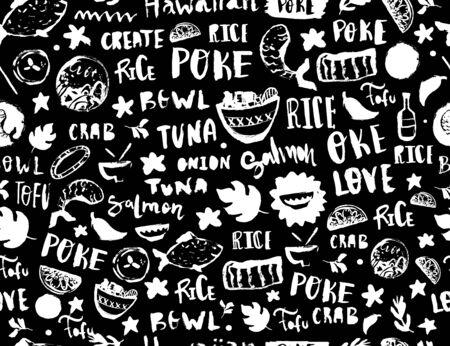 Poke seamless pattern, restaurant menu design. Colorful grunge cafe template, healthy hawaiian nutrition, fish banner
