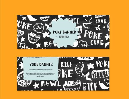 Poke bowl restaurant banner design. Colorful grunge cafe template, healthy hawaiian nutrition, fish banner