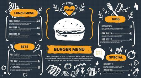 Burger-Menü mit Doodle-Symbolen und Sketch-Burger