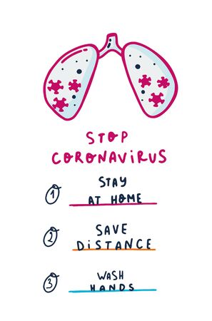 Coronavirus safety concept, flyer print, pandemic prevention, covid-19 medical advices Illusztráció