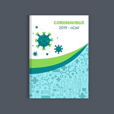 Medical coronavirus brochure, Health report, medicine template, hospital cover design.