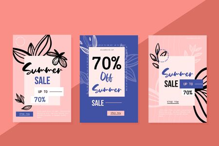 Summer sale floral template, hand drawn style contemporary flyer, clearance flyer. Reklamní fotografie - 144172349
